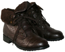 LADIES BROWN LACE UP MILITARY STYLE BOOT WITH FUR COLLAR IN SIZE 4