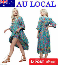 Fashion Boho Gypsy Mexican Ethnic Floral Womens Evening Party Mid-calf Tea Dress