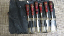 "SET OF 6 STANLEY NO. 750 Wood CHISELS  1/4"" TO 1 1/2"" in Original Pouch"
