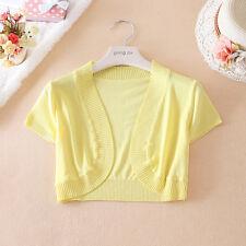 Women Short Sleeve Knit Cardigan Knitwear Shawl Shrug Cropped Tops Coat Outwear