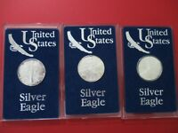 1991 1995 1999  Toned  American Silver Eagles  W/ Original U.S. Mint Cases