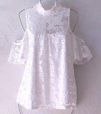 NEW~White Lace Peasant Blouse Cold-Shoulder Romantic Boho Top~8/10/6/M/Medium