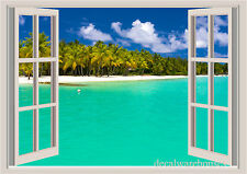 Maldives Ocean Palms  Window View Repositionable Color Wall Sticker Wall Mural