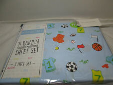 New # Bedtime VARSITY ALL SPORTS Twin  Sheet Set ~ Jersey, Flag, Balls, Whistle