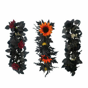 Artificial Autumn Fall Maple Leaves Rose Garland Halloween Hanging Plants Decor