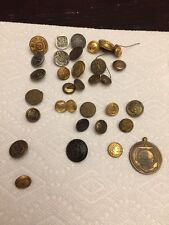 32 Vintage Metal Military Navy Buttons Brass Stamped Some Sets US & England