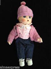 "1993 Qvc 11"" Seymour Mann Porcelain Baby Doll, Pink Pom Pom Hat Jeans Blue Eyes"