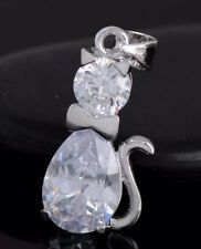 FREE POST Silver Like Diamonte CZ Kitty Pendant & Chain Animal pussy CAT Lovers