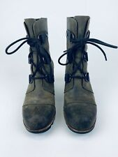 Sorel Womens 8 39Joan of Arctic Mid Wedge Leather Lace Up Boots NL2173-383
