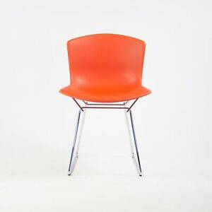 NEW Harry Bertoia Knoll Molded Plastic Side Shell Chair Chrome Base Orange/Red