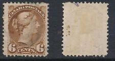 CANADA, 1870 6c yellow-brown (fine paper), 1st Ottawa,very fine, SG86, cat £23