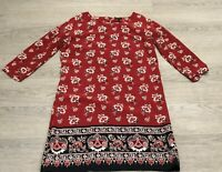 Stunning EAST BOUTIQUE Rust Brown Orange Floral 100% Silk Tunic Dress UK 8