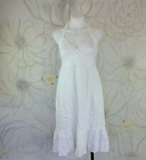 J Crew Size 6 Linen Halter Dress WHT Fully Lined Pockets Elastic Back Ruffle Hem