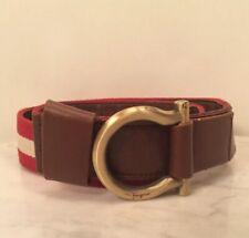 "Genuine SALVATORE FERRAGAMO Red Stripes Fabric Leather Men's Belt 44"" Long Rare"