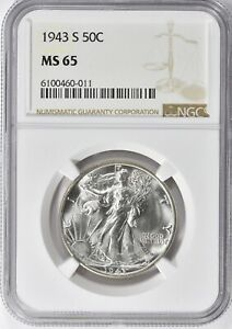 """1943-S WALKING LIBERTY HALF DOLLAR  NGC MS-65 """"GORGEOUS"""" ONLY 402 GRADED HIGHER"""