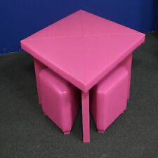 KIDS LEATHER TABLE + 4 CHAIRS SET   [PINK]
