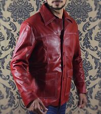 Fight Club Brad Pitt Leather Red Leather Jacket Size ,2XL ONLY