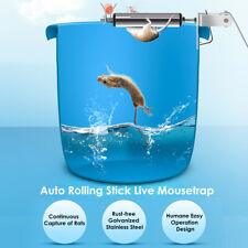 Auto Reset Stainless Mice Rats Mouse killer Trap log Grasp Bucket Rolling Roller