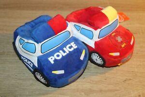 NEW Police Car Fire Truck Slippers Plush Kids Emergency Rescue Boy Girl