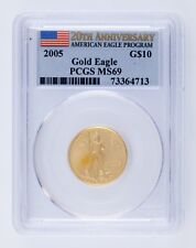 2005 G$10 US Gold Eagle Graded by PCGS as MS69 20th Anniversary