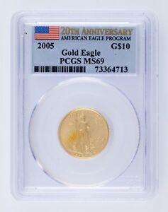 2005G $10 Ee. Uu. Oro Águila Graduado Por Calidad Como MS69 20th Aniversario