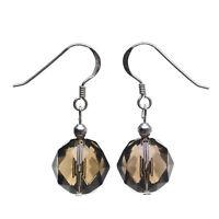 Ohrringe Ohrhänger aus Rauchquarz braun & 925 Silber facettiert Ohrschmuck