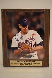 "MLB ""Nolan Knows Bo"" Nolan Ryan Bloodied Lip 8 X 10  Autographed Photo Plaque"
