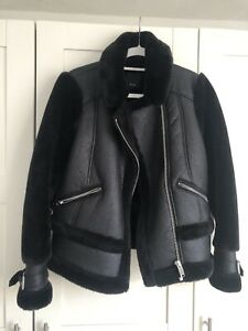 River Island Black Aviator Jacket Size 12 Excellent Condition