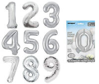"34"" SIlver Giant Foil Number Balloons - Air Helium Birthday Age Party Letter"