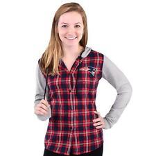 Cute! New England Patriots NFL Women's Lightweight Flannel Hooded Jacket S ___S9