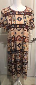 LulaRoe Carly XL gorgeous tribal print with caramel TC leggings BNWT