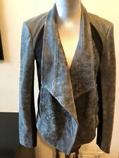NEW PURE DKNY Draped Ponte Paneled Cracked Gray Leather Moto Jacket Coat Size S