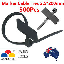 500Pcs 2.5*200mm Nylon Marker Mark Tags Label Cable Zip Ties-Black
