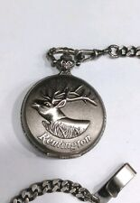 Remington Hunter Case Deer Pocket Watch working condition with watch fob chain