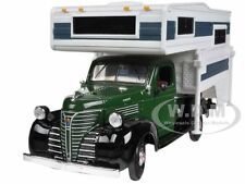1941 PLYMOUTH PICKUP TRUCK WITH CAMPER GREEN 1/24 BY MOTORMAX 75278