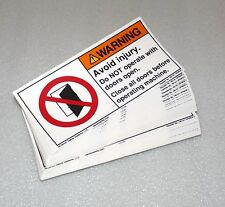 """NEW CLARION SAFETY LABEL 5.5"""" X 2.75"""" WARNING AVOID INJURY DOORS OPEN STICKER"""