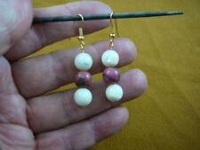 (EE-486-2) three bead 10 mm Pink rhodonite White Mother of pearl dangle earrings
