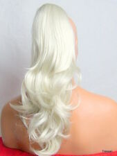 """Clip in Hair Pony Tail Hair Piece Extension Flick Silver White #010W - 19"""" CARA"""