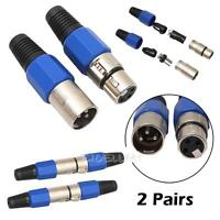 2 Pairs XLR 3 Pin Female Jack + Male Plug Audio MIC Microphone Cable Connector