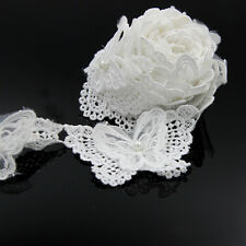2yd White Butterfly Flower Mesh Faux Pearl Lace Trim Applique Belt Sew Craft DIY