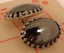 """2 Czech oval hematite glass buttons antq silver setting 27mm 1"""" x 3/4"""" 716"""
