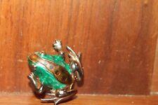 "Vintage Enameled Frog Brooch Pin 1-1/2"""