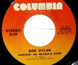 Bob Dylan Knockin' On Heaven's Door  Turkey Chase  45 RPM Columbia 1973 VG