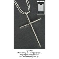GIFT BOXED Equilibrium Silver Plated Pave Cross Necklace Faith Love Hope 64743