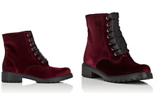 Barneys New York Velvet Lace-Up Ankle Boots, Size 10, Burgundy, New In Box!!
