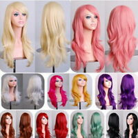 NEW Women 70cm Full Curly Wigs Cosplay Costume Anime Party Hair Wavy Long Wig JD
