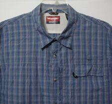 Wrangler Originals 2XL Fishing Shirt Blue Plaid Cotton Blend Gear Rod Holder