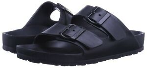 Mens Double Strap Buckle Slide Soft Footbed Sandal Beach Shower Pool Navy 7