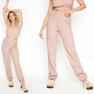 Ladies Womens LTS Long Tall Sally Pink Cable Print Joggers Lounge Pants UK 18