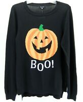 Verve Ami Women's Embellished Halloween Sweater Pullover Black Orange Size M